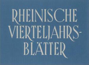 Rheinische Vierteljahrsblätter online